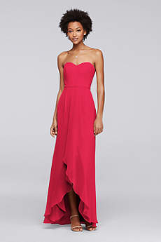 Soft & Flowy David's Bridal High Low Bridesmaid Dress