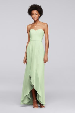 Strapless bridesmaid dress with high low hem davids bridal for High low wedding dress davids bridal