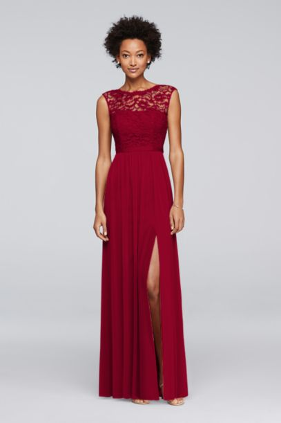 Long Bridesmaid Dress with Lace Bodice | David's Bridal