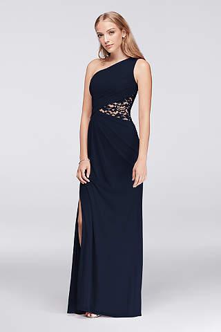 Navy Blue One Shoulder Bridesmaid Dress