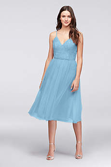 Soft & Flowy David's Bridal Tea Length Bridesmaid Dress