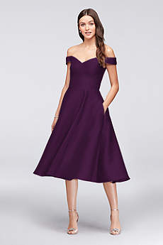 Tea Length A-Line Off the Shoulder Dress -
