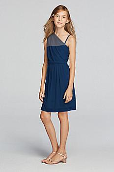 Short One Shoulder Mesh Dress with Belt JB9008