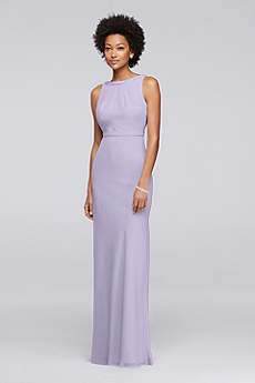 Long Chiffon Bridesmaid Dress with Beading