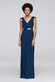 Long Dress with Gathered Bodice and Beaded Brooch JP291749