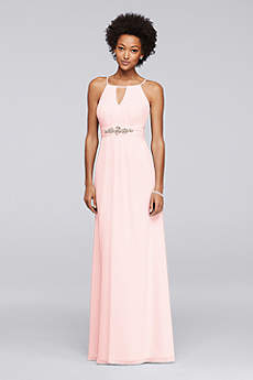 Long Bridesmaid Dress with Keyhole and Beading