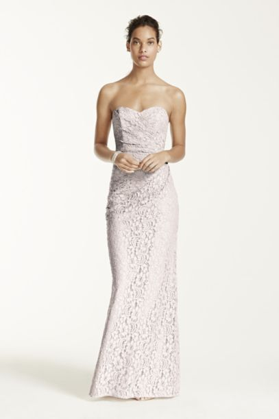 Long Strapless Lace Dress with Sweetheart Neckline | David's Bridal