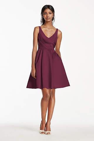 Structured David S Bridal Short Bridesmaid Dress