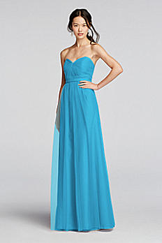 Strapless Tulle Long  Dress with Removable Belt W10888