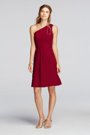 Wine Chiffon One Shoulder Dress