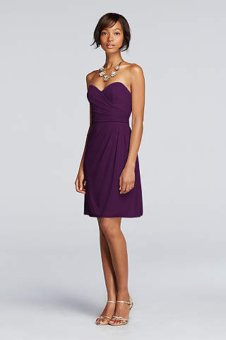 Short Strapless Mesh Dress With Sweetheart Neck