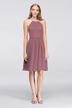 Short Sheath Halter Dress - David's Bridal