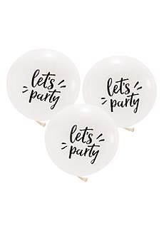 17 Inch White Round Let's Party Balloons Set of 3