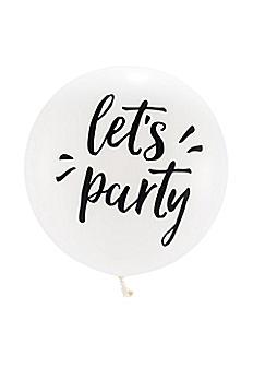 36 Inch Jumbo White Round Let's Party Balloon 4542