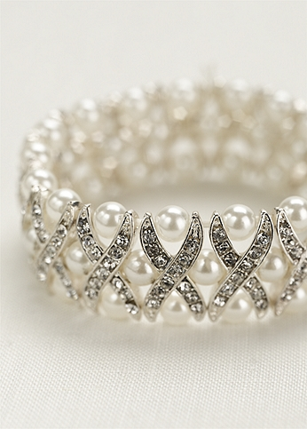 Pearl and Crystal X Design Bracelet J8007B