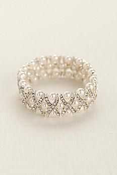 Pearl and Crystal X Design Bracelet J8007B