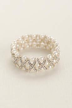 Pearl and Crystal X Design Bracelet