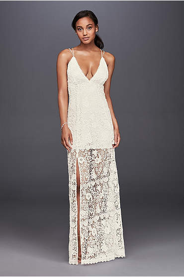 Ivory lace sheath dress with plunging neckline