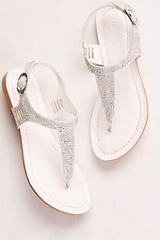 David's Bridal Grey Sandals (Embellished Glitter T-Strap Sandals)
