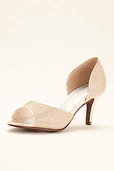 David's Bridal Grey Peep Toe Shoes (Peep Toe D'Orsay Glitter Heel)