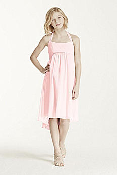 Crinkle Chiffon Beaded High Low Hemline Dress JB5467