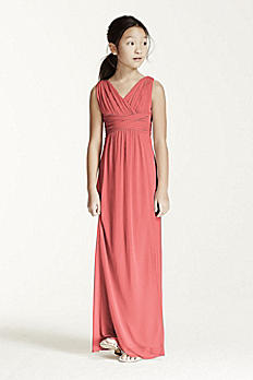 Long Sleeveless Mesh Dress with Ruched Waist JB5728