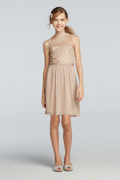 Short One Shoulder Dress With Metallic Lace Bodice | David's Bridal
