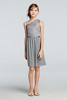 Short One Shoulder Dress With Metallic Lace Bodice JB9011M