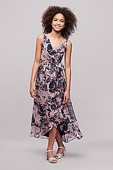 Printed Chiffon Faux-Wrap Junior Bridesmaid Dress JB9816P