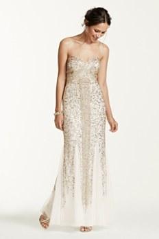 Strapless Linear Sequin Beaded Dress JC1037