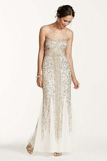Strapless Linear Sequin Beaded Dress JC1037