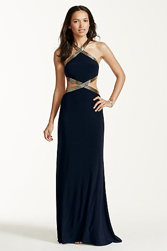 Bugle Bead Cutout Halter Dress JC1083