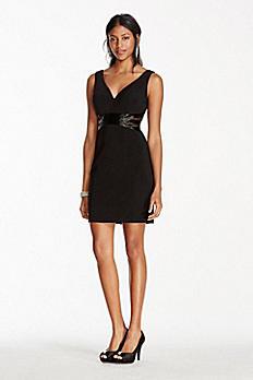 Deep V-Plunge Short Jersey Dress with Beaded Waist JC1216