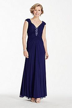 Long Power Mesh Dress with Beaded V-Neckline JC1257