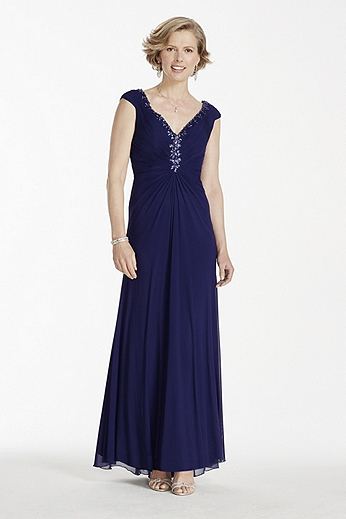 Long Power Mesh Dress with Beaded V-Neckline JC1257