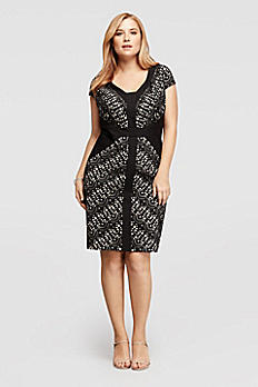 Short Sleeve V-Neck Dress with Laser Cut Pattern JDAEX1AMD