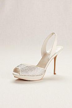 Platform Sling Back Crystal Peep Toe High Heel JESSA