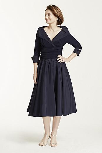 3/4 Sleeve Portrait Collar Jersey Dress JH3M3355