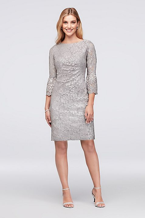 Metallic Lace Cocktail Dress with 3/4 Bell Sleeves | David\'s Bridal