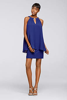 Short A-Line Halter Cocktail and Party Dress - Jessica Howard