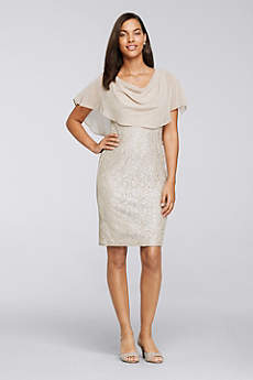 Short Sheath Capelet Formal Dresses Dress - Jessica Howard