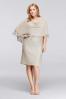 Shimmer Lace Plus Size Dress with Capelet JHDW8463