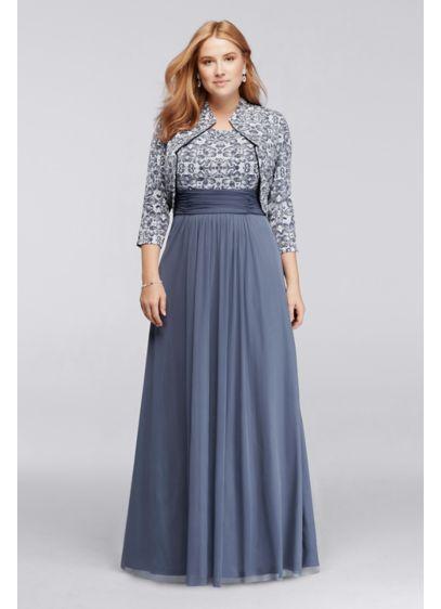 Long 3/4 Sleeve Plus Size Jacket Dress | David\'s Bridal