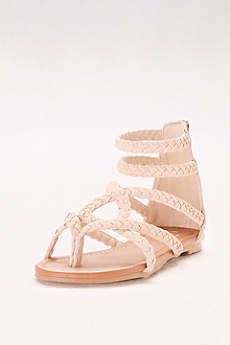 Dreams Beige Sandals (Strappy Braided Gladiator Sandals)
