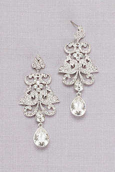 Pave Crystal Filigree Earrings