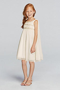 Chiffon Flower Girl Dress with Back Streamers JP171656