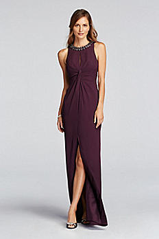 Pleated Crepe Dress with Keyhole and Beaded Neck JP281634