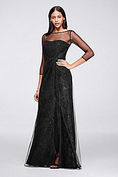 Long Crepe Dress With Sequin Flowers and Sleeves JP281714