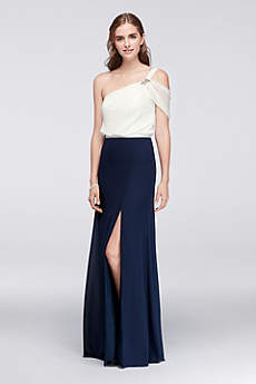 Draped Chiffon One-Shoulder Dress with Beading