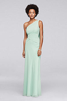 One Shoulder Chiffon Long Bridesmaid Dress JP291734